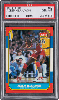 1986 Fleer Akeem Olajuwon #82 PSA Gem Mint 10