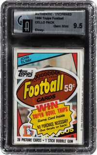 1984 Topps Football Cello Pack GAI Gem Mint 9.5 with John Elway Rookie on Front!