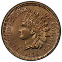 1859 P1C Indian Cent, Judd-228, Pollock-272, R.1, MS65 PCGS. PCGS Population: (75/14 and 4/0+). NGC Census: (43/7 and 1/...