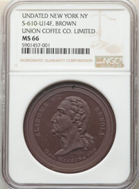 Undated Token Union Coffee Co. Limited, New York, NY, MS66 NGC. Schenkman-610-U14F, Brown Hard Rubber