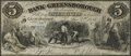 Obsoletes By State:Georgia, Greensborough, GA- Bank of Greensborough $5 Dec. 7, 1858 G6d Extremely Fine.. ...