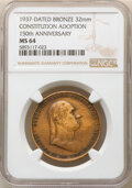 Washingtonia, 1937 Constitution Adoption 150th Anniversary, MS64 NGC. Bronze, 32 mm. ...
