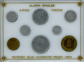 Complete Eight-Piece Set of the Alaska 'Bingle' Tokens, Uncertified. Issued by the Alaska Rural Rehabilitation Corporati...