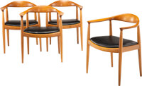 Hans J. Wegner (Danish, 1914-2007) The Chairs, Set of Four, circa 1950, Johannes Hansen Teak and lea