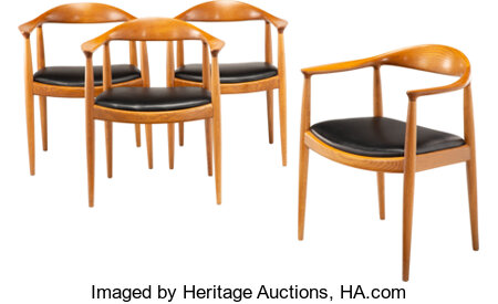 Hans J. Wegner (Danish, 1914-2007) The Chairs, Set of Four, circa 1950, Johannes Hansen Teak and leather 30 x 24-1/2 ... (Total: 4 Items)
