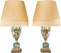 A Pair of Continental Partial Gilt Porcelain Vases with Lamp Mounts, late 19th-early 20th century 33 x 18-1/2 inch