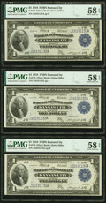 Large Size:Federal Reserve Bank Notes, Fr. 739 $1 1918 Federal Reserve Bank Notes Three Consecutive Examples PMG Choice About Unc 58 EPQ.. ... (Total: 3 notes)
