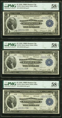 Fr. 739 $1 1918 Federal Reserve Bank Notes Three Consecutive Examples PMG Choice About Unc 58 EPQ