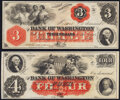 Washington, NC- Bank of Washington $3; $4 18__ Remainders G4a; G8a About Uncirculated; Choice About Uncirculated.&lt...