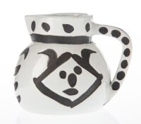 Pablo Picasso (1881-1973) Têtes, 1956 Partially glazed white earthenware ceramic pitcher, painted in