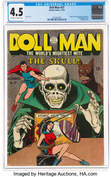 Golden Age (1938-1955):Superhero, Doll Man #37 (Quality, 1951) CGC VG+ 4.5 Off-white to white pages....