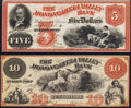 Obsoletes By State:Pennsylvania, McKee's Port, PA- Monongahela Valley Bank $5; $10 18__ G6a; G8a Choice About Uncirculated; Crisp Uncirculated.. ... (Total: 2 notes)