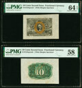 Fractional Currency:Second Issue, Fr. 1244SP 10¢ Second Issue Wide Margin Pair PMG Choice Uncirculated 64 EPQ and Choice About Unc 58.. ... (Total: 2 notes)