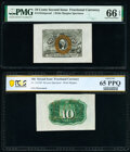 Fractional Currency:Second Issue, Fr. 1244SP 10¢ Second Issue Wide Margin Pair PMG Gem Uncirculated 66 EPQ/PCGS Banknote Gem Unc 65 PPQ.. ... (Total: 2 notes)