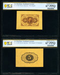 Fr. 1231SP 5¢ First Issue Wide Margin Pair PCGS Banknote Superb Gem Unc 67 PPQ. ... (Total: 2 notes)