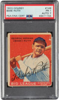Baseball Cards:Singles (1930-1939), 1933 Goudey Babe Ruth #149 Signed by Babe Ruth, PSA Poor 1, Auto 7....