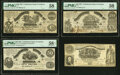 Confederate Notes:1861 Issues, T13 $100 1861 PMG Choice About Unc 58;. CT14 $50 1861 Counterfeit PMG Choice About Unc 58 EPQ;. T18 $20 1861 PMG About... (Total: 4 notes)