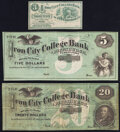 Obsoletes By State:Pennsylvania, Pittsburgh, PA- Iron City College Bank of Pittsburgh 3¢; $5; $20 ND; 18__; Mar. 7, 1866 Schingoethe PA-750-UNL; PA-750-... (Total: 3 notes)