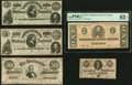 Confederate Notes:1864 Issues, T65 $100 1864 Two Examples About Uncirculated;. T66 $50 1864 Extremely Fine;. T71 $1 1864 PMG Choice Uncirculated 63 E... (Total: 5 notes)