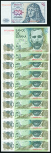 Spain and Germany Group of 12 Examples Crisp Uncirculated. ... (Total: 12 notes)