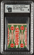 Baseball Cards:Unopened Packs/Display Boxes, 1951 Topps Red Back Baseball 1-Cent Pack GAI NM-MT 8. ...