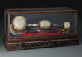 Decorative Accessories, A Large Carved White Jade and Hardwood Ruyi Scepter With Mother-of-Pearl Inlay. 29 x 7-1/4 inches (73.7 x 18.4 cm)