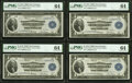 Large Size:Federal Reserve Bank Notes, Cut Sheet of Four Fr. 745 $1 1918 Federal Reserve Bank Notes PMG Choice Uncirculated 64.. ... (Total: 4 notes)