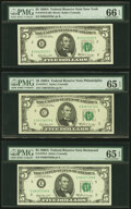 Small Size:Federal Reserve Notes, Fr. 1970-B; C; E; F; H $5 1969A Federal Reserve Note. PMG Graded.. ... (Total: 5 notes)