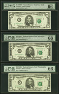 Small Size:Federal Reserve Notes, Fr. 1970-B (2); C; H; J* $5 1969A Federal Reserve Notes. PMG Graded. . ... (Total: 5 notes)