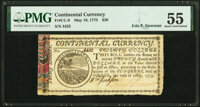 Continental Currency May 10, 1775 $20 CC-9 PMG About Uncirculated 55