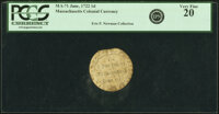 Massachusetts June, 1722 One Penny Round PCGS Very Fine 20