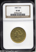 Liberty Eagles: , 1840 $10 XF40 NGC. Honey-gold color occurs over each side,...