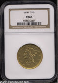 Liberty Eagles: , 1851 $10 XF40 NGC. A nicely detailed and typically ...