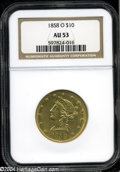 Liberty Eagles: , 1858-O $10 AU53 NGC. Luster clings to the areas around ...