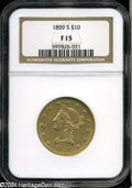 Liberty Eagles: , 1859-S $10 Fine 15 NGC. The low-mintage (7,000 pieces) ...
