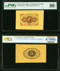 Fr. 1231SP 5¢ First Issue Wide Margin Pair PMG Gem Uncirculated 66 EPQ/PCGS Banknote Superb Gem Unc 67 PPQ. ... (To...