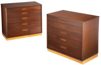 Edward Wormley (American, 1907-1995) Pair of Chests of Drawers, circa 1955, Dunbar Walnut, leather