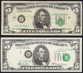 Error Notes:Shifted Third Printing, Shifted Third Printing Error Fr. 1968-J $5 1963A Federal Reserve Note. Very Fine;. Shifted Third Printing Error Fr. 1969-G... (Total: 2 notes)