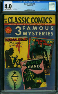 Classic Comics 21 (1A) First Edition Gilberton (Gilberton, 1944) CGC VG 4.0 Cream to off-white pages