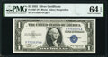 Fr. 1607 $1 1935 Silver Certificate. P-A Block. PMG Choice Uncirculated 64 EPQ