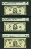 Small Size:Federal Reserve Notes, Fr. 1976-C*; D*; E; F*; G*; I $5 1981 Federal Reserve Note. PMG Graded. . ... (Total: 6 notes)