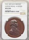 Post-1859 Sansom Medal, First Reissue, Baker-72A, Musante GW-59, MS65 Brown NGC. Julian PR-1b. Bronze, 41mm, plain edge...