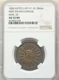 1836 Medal First Stem Coinage, Mar. 23, Julian-MT-21, AU55 NGC. AE, 28 mm