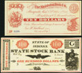 Indiana and Ohio Obsolete Remainders. Logansport, IN- State Stock Bank Fantasy Note $100 18__ AU; Cleveland, OH-... (Tot...