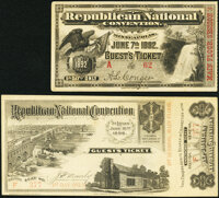 Republican National Convention Tickets. Minneapolis 1892 5th Day Guest's Ticket Main Floor Session 3 Choice AU