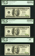 Missing Treasury Seal Fr. 2176-J $100 1999 Federal Reserve Notes. Three Consecutive Examples. PCGS Graded