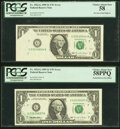 Fr. 1922-G $1 1995 Federal Reserve Note Errors PCGS Graded. Pre-Face Print Foldover Error Choice About New 58;