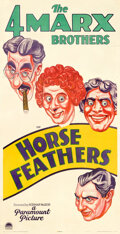 "Movie Posters:Comedy, Horse Feathers (Paramount, 1932). Very Fine- on Linen. Three Sheet (41"" X 80"") Sam Berman Artwork.. ..."