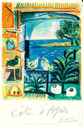 """Movie Posters:Miscellaneous, Côte d'Azur by Pablo Picasso (French Government, 1962). Rolled, Very Fine-. French Travel Poster (26"""" X 39.5"""").. ..."""