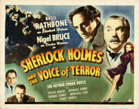 """Sherlock Holmes and the Voice of Terror (Universal, 1942). Rolled, Fine+. Half Sheet (22"""" X 28"""")"""